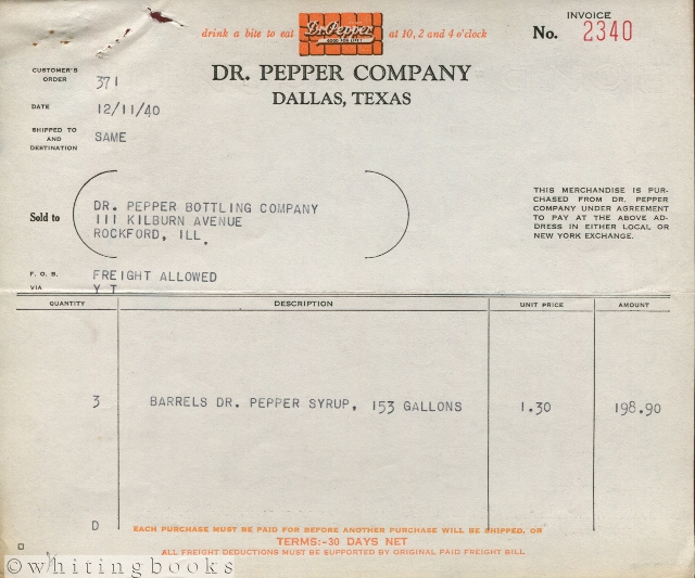 Image for Dr. Pepper Invoice, 1940, Dallas, Texas to Rockford, Illinois Bottling for Barrels of Syrup