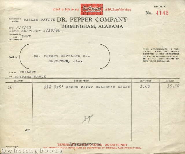 Image for Dr. Pepper Invoice, 1940, from Birmingham, Alabama to Rockford, Illinois Bottling for Signs