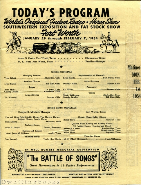 Image for 1954 Rodeo Day Program from the Southwest Exposition and Fat Stock Show in Fort Worth, Texas