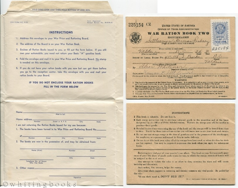 Image for World War II Soldier's Ration Book Two with Return Envelope (OPA Form No. R-191) to the War Price and Rationing Board upon Induction