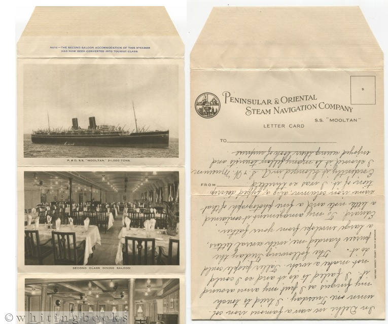 "Image for Peninsular & Oriental Steam Navigation Company Letter Card  from the S.S. ""Mooltan"""