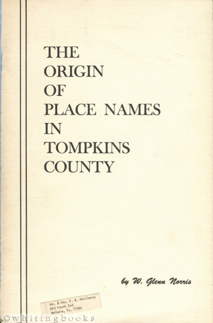 Image for Origin of Place Names in Tompkins County [New York]