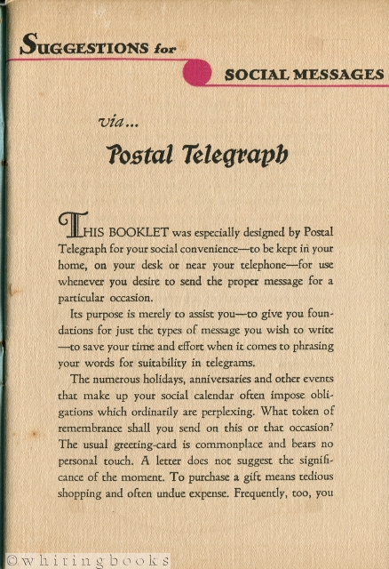 Image for Suggestions for Social Messaging Via Postal Telegraph