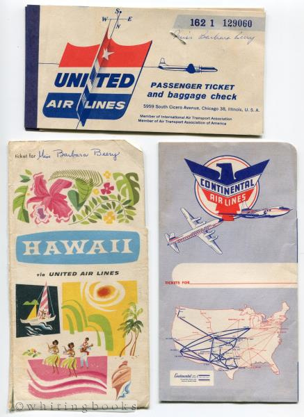 Image for 1957 United Airlines Hawaii Passenger Ticket Baggage Check in Continental Airlines Folder