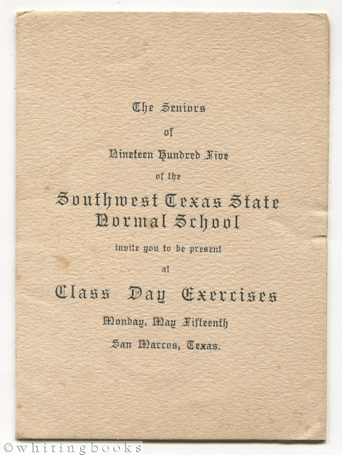 Image for Southwest Texas State Normal School 1905 Graduation Class Commencement Program - San Marcos, Texas