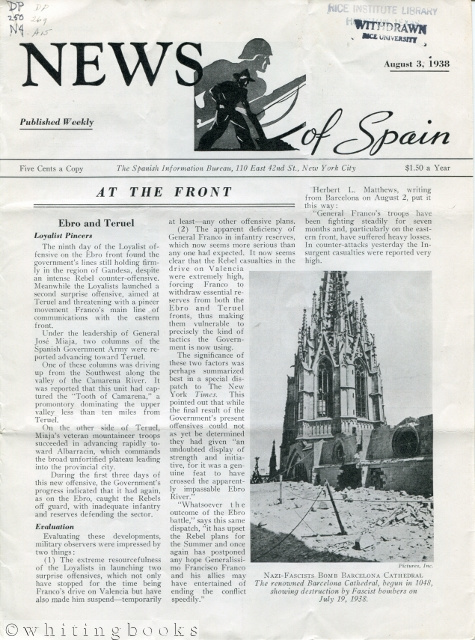 Image for News of Spain [Spanish Civil War]: Assorted Weekly Newsletters from 1938 to 1939