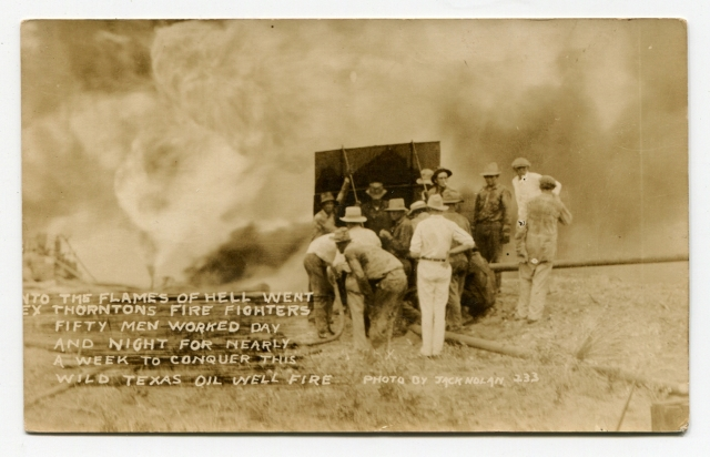 Image for Real Photo Post Card [RPPC]: Jack Nolan Photograph of Tex Thornton's Firefighters Working on a Wild Texas Oil Well Fire Circa 1932