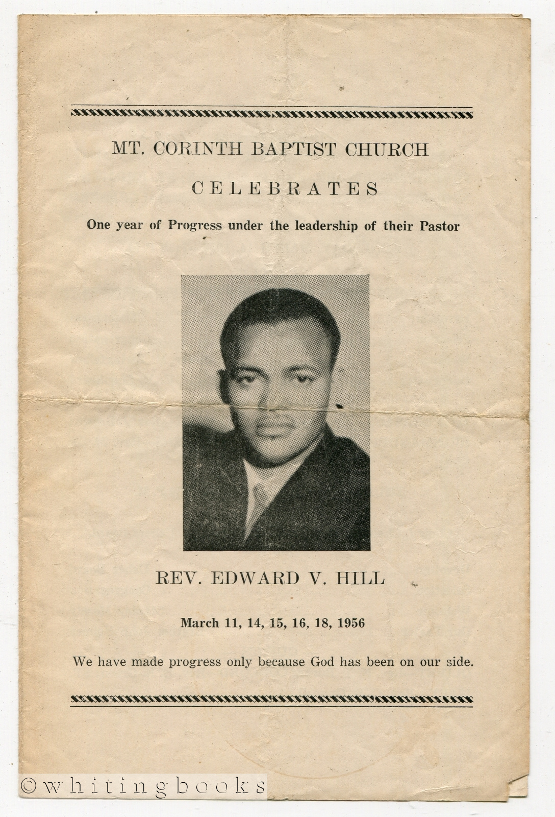 Image for Rev. Edward V. Hill Celebration Service [Program] at Mt. Corinth Baptist Church [Houston, Texas] - March 11, 14, 15, 16, 18, 1956
