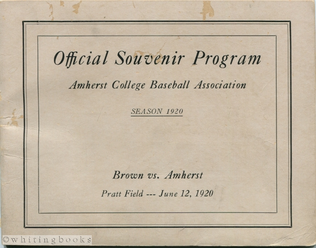 Image for Brown vs. Amherst, Pratt Field - June 12, 1920: Official Souvenir Program, Amherst College Baseball Association