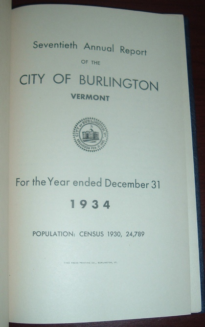 Image for Seventieth Annual Report of the City of Burlington, Vermont for the Year Ending December 31, 1934