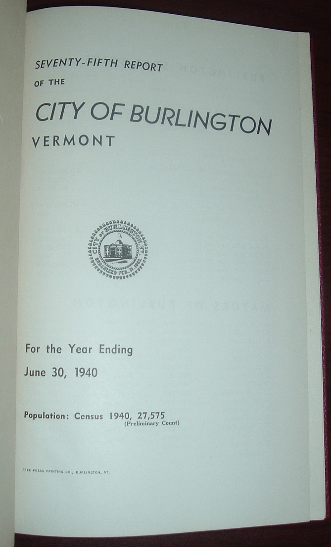 Image for Seventy-fifth Annual Report of the City of Burlington, Vermont for the Year Ending December 31, 1940