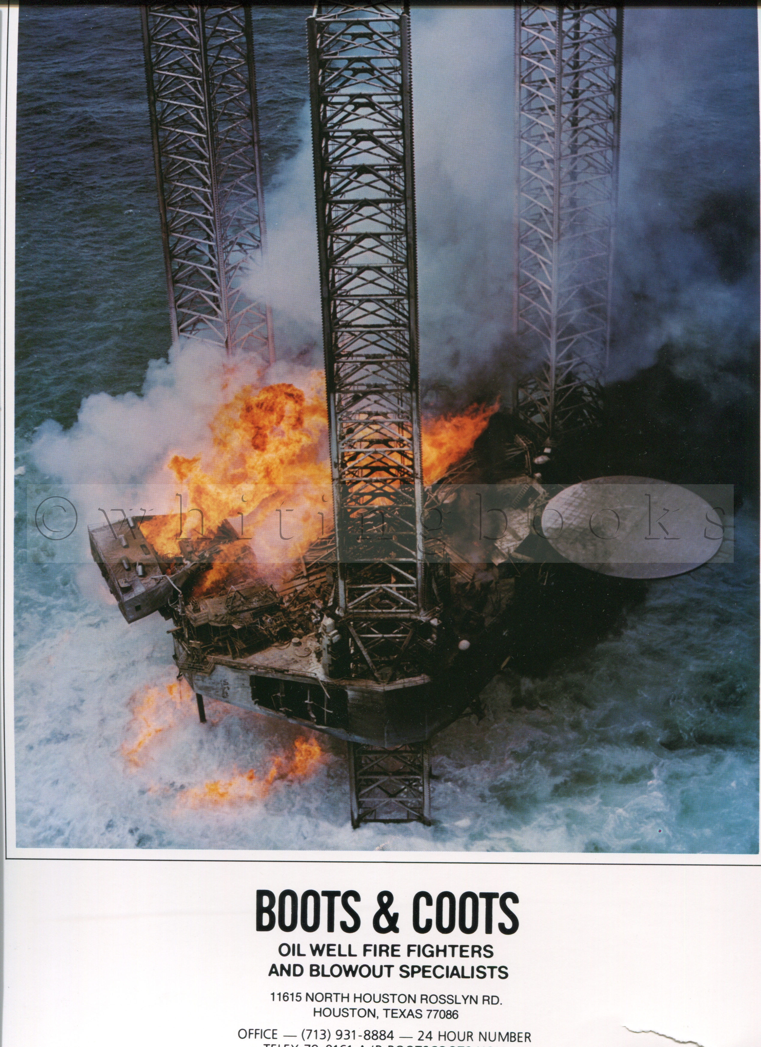 Boots & Coots Oil Well Fire Fighters and Blowout Specialists - Lot of Seven Color Posters Advertising the Company's Services